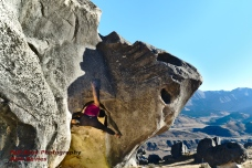 """Annie on """"stem cell"""" at Flock Hill, New Zealand, a seriously odd climb."""