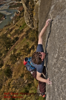 Brodrick working the Hairy Tails crux at Hanging Rock.